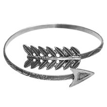 цена на Retro Silver Plated Charms Bangle Hip Hop Unisex Feather Arrow Bracelet Stylish Punk Jewelry Accessories Gifts For Women Men
