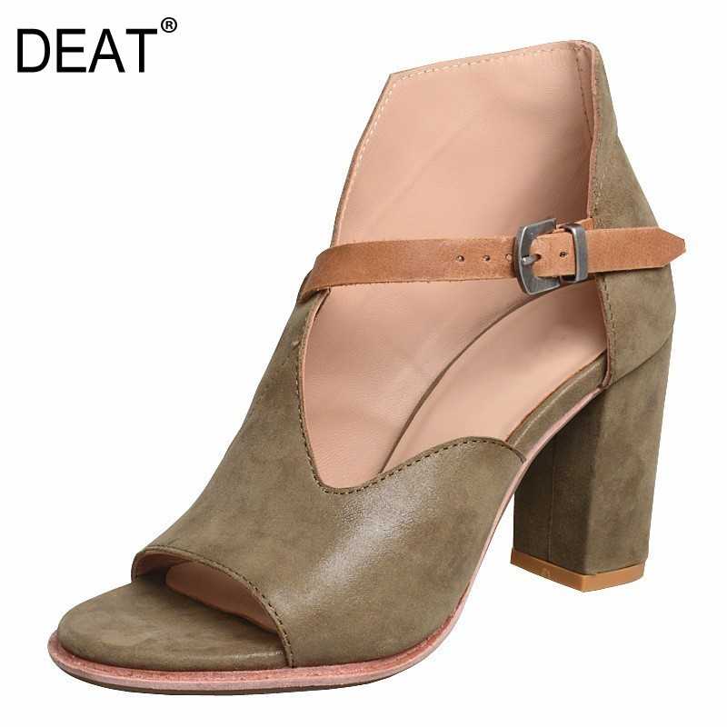 DEAT 2019New Spring Summer Round Toe Shallow Pu Leather Buckle Strap Mixed Colors High Heels