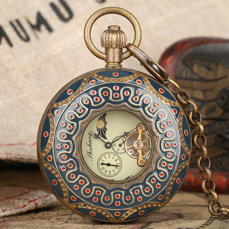 Pure Copper Mechanical Retro Large Tourbillon Pocket Watch Stylish Double Hunter Hollow Red Dot Embellishment Watch Collectibles