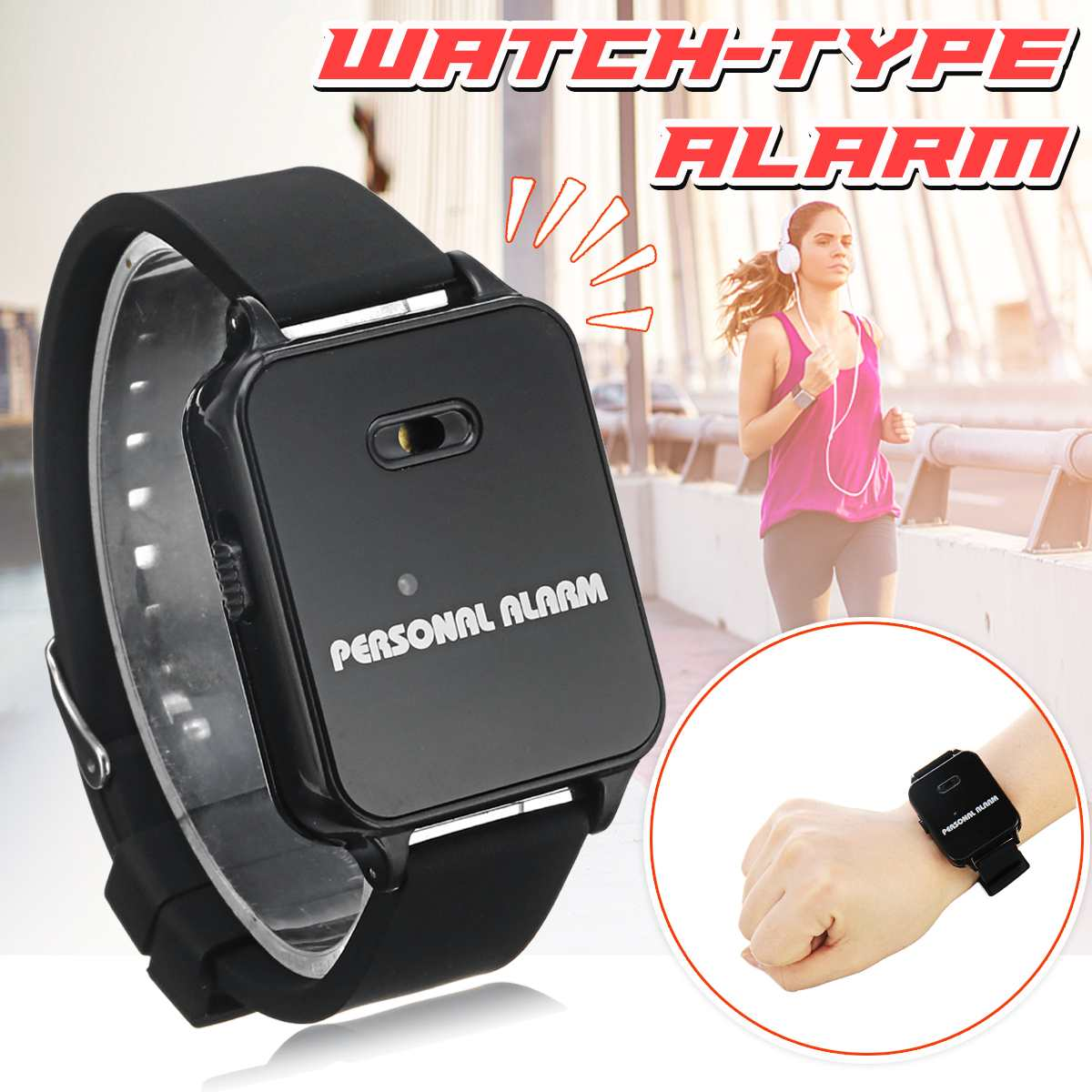 120DB Loud Sound Personal Alarm Watch Type Running Rescuer Outdoor Anti-wolf Device Kids Anti-lost Alarm Security Protection