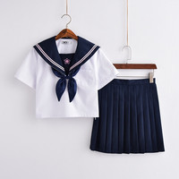 Japanese Salior Suit School Uniform Women Preppy Style Sakura Embroidery Crew Neck Tops And Young Girl Sweet Mini Pleated Skirts