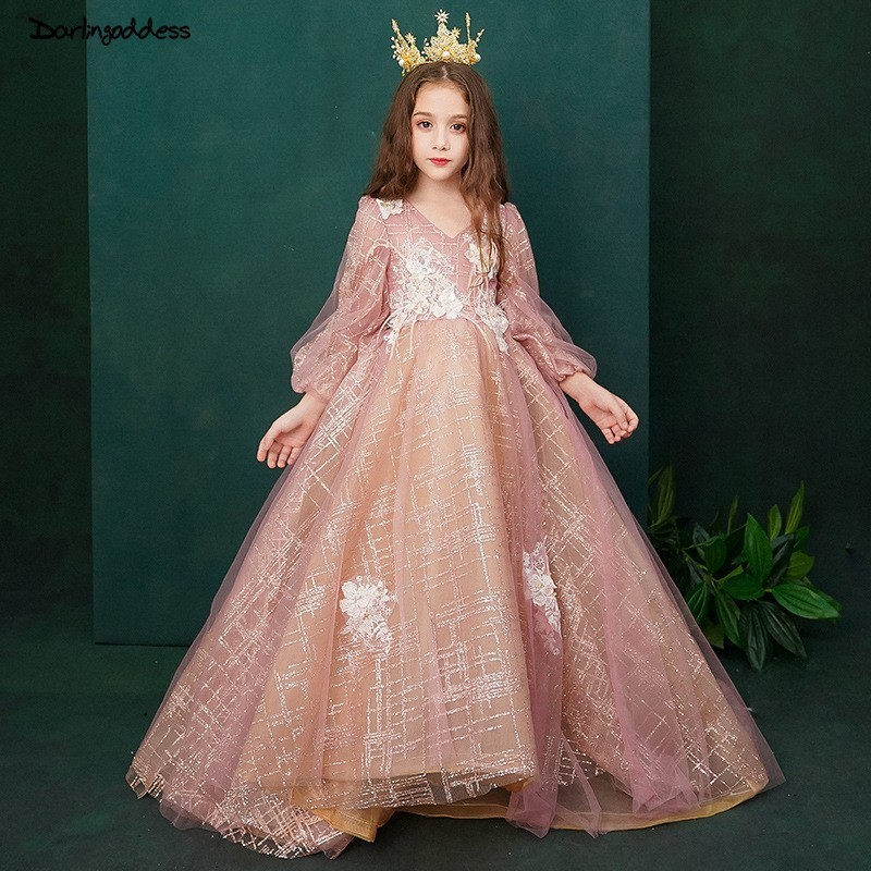 Elegant Little   Girls   Pageant   Dresses   Long Sleeves Ball Gown   Flower     Girl     Dresses   for Weddings 2019 Long Prom   Dress   for   Girls