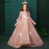 c9fc6b16ee14a Elegant Little Girls Pageant Dresses Long Sleeves Ball Gown Flower Girl  Dresses For Weddings 2019 Long