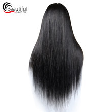 10A Virgin Straight Hair Bundles 200% Glueless Wig With 4x4 Closure Brazilian Human Hair Lace Front Wigs For Women Customize Wig(China)