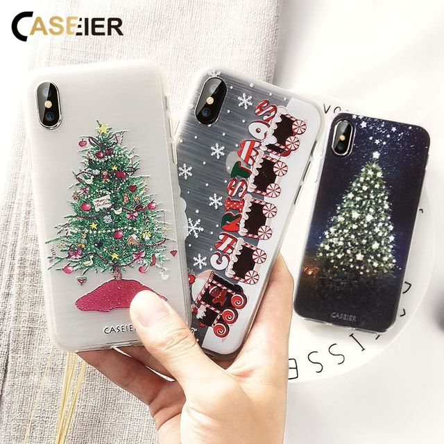 CASEIER Christmas Phone Case For iPhone XS Max XR X 8 7 Cute Soft Silicone Cover For iPhone X 6 6s 5 5s SE Capinha Funda Shell