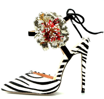 Sexy Ladies Bling Sequins Big Flowers Sandals Zebra Horsehair Pointed Toe Ladies Fashion Ankle Strap Lace Up Glitter High Heels