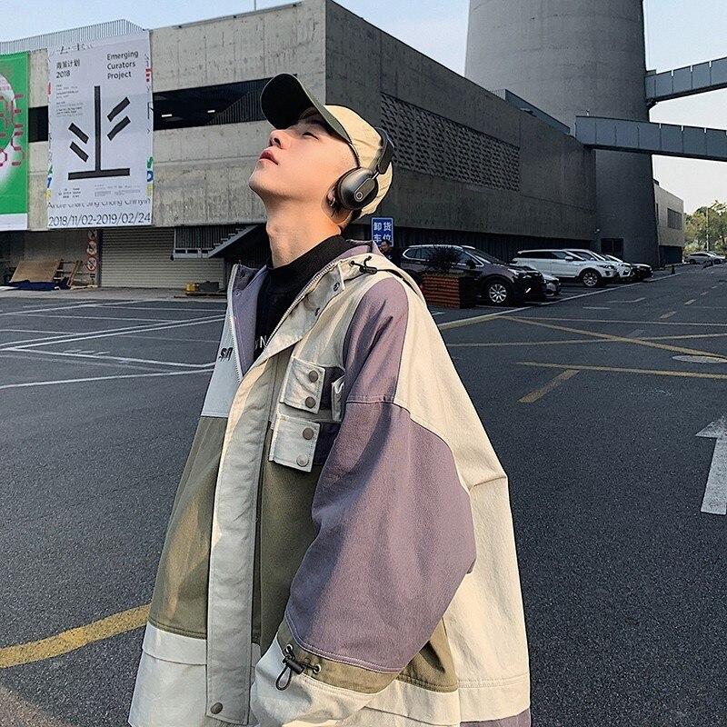 2019 Style japonais hommes Streetwear Bomber vestes Patchwork poches manteaux rétro Harajuku vêtements à capuche coupe-vent taille M-XL