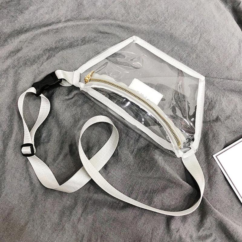 Casual Women Female Transparent Shoulder Waist Bags Ladies Fashion PVC Fanny Belt Packs Girls Waterproof Crossbody Chest Bags