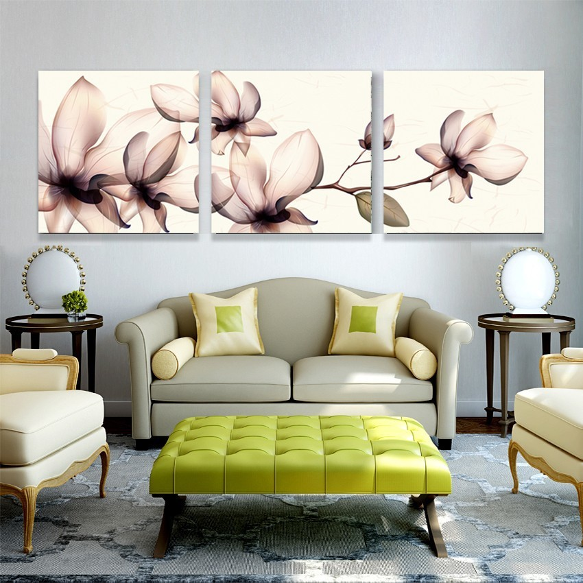 3 Piece Modern Oil Painting Canvas Art Transparent Flowers Wall Pictures Print Home For Living Room Bedrooms Paintings No Frame in Painting Calligraphy from Home Garden
