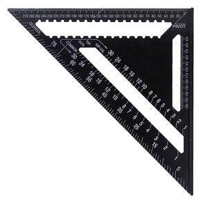 "Image 3 - 30センチメートルアルミセット直角定規12 ""分度器垂木角フレーム測定大工測定木工三角形のルール"