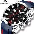 MEGALITH модные наручные часы водонепроницаемый силиконовый ремешок аналоговые наручные часы Мужские Хронограф Дата наручные часы
