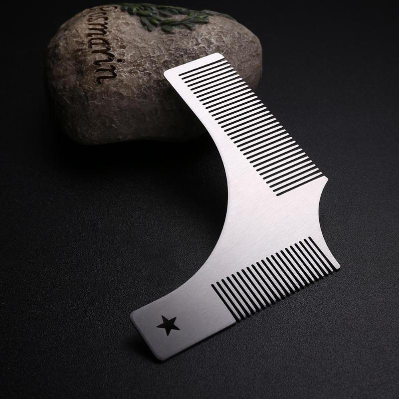 1pc Silver Steel Beard Styling Mold Comb Durable Moustache Shaving Comb Salon Haircut Tools For Men Good Quality