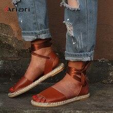 Plus Size 43 Womens Sandal Summer Hemp Insole Flat Sandals Cross Bandage Roman Shoes  Lace-up Ankle Strap Female