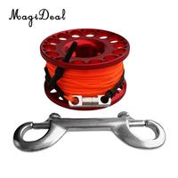 MagiDeal Red Aluminum Alloy Scuba Diving Finger Reel Spool with 15/30m Line Bolt Snap for Snorkeling Freediving Accessories