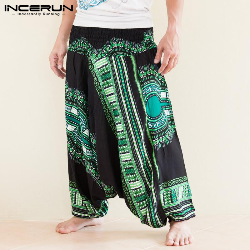 INCERUN Drop Crotch Harem Pants Men Ethnic Print Loose Hiphop Joggers Wide Leg Pants 2020 African Dashiki Style Trousers Men 5XL