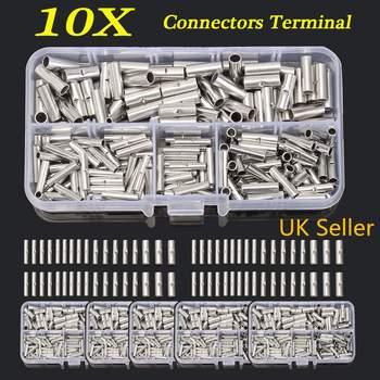 200 Adet Bakır Butt Splice Tel Bakır Sıkma Konnektörü İzoleli Kablo Pin Sonu Terminalleri Için 10-22AWG Isı Borusu Shrink