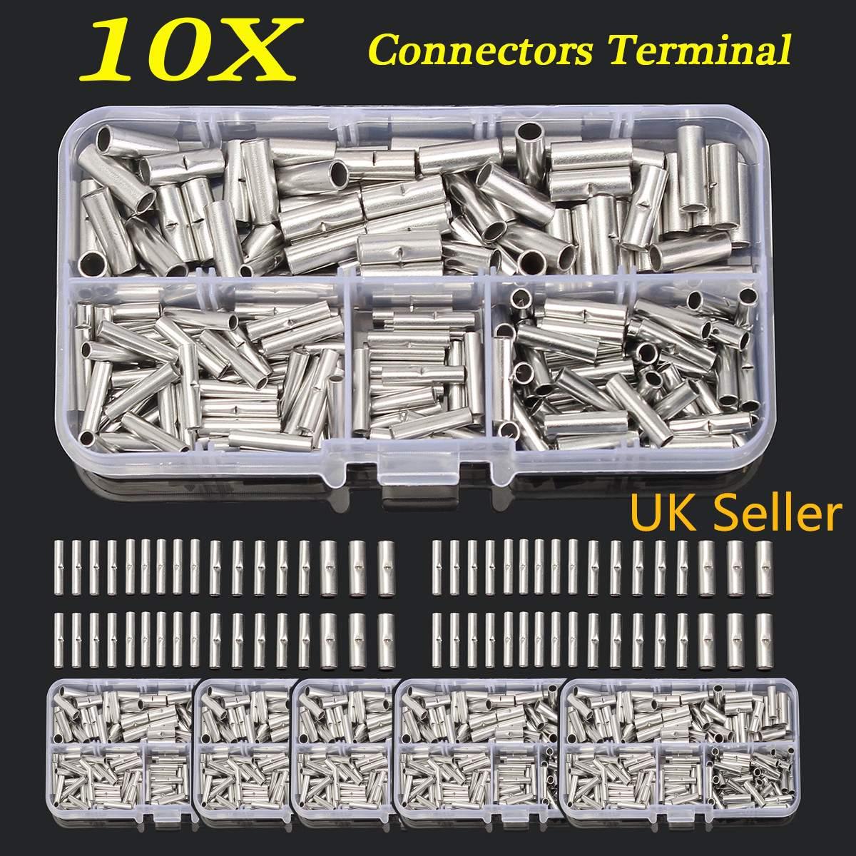 200 Pcs Cobre Butt Splice Fio de Cobre Crimp Connector Duplas Cord Pin Terminais Para 10-22AWG Sleeving Tubo Do Psiquiatra Do Calor