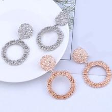Round Vintage Earrings Womens Gold Color Big Fashion Modern Jewelry Ladies Elegant Crystal Earring