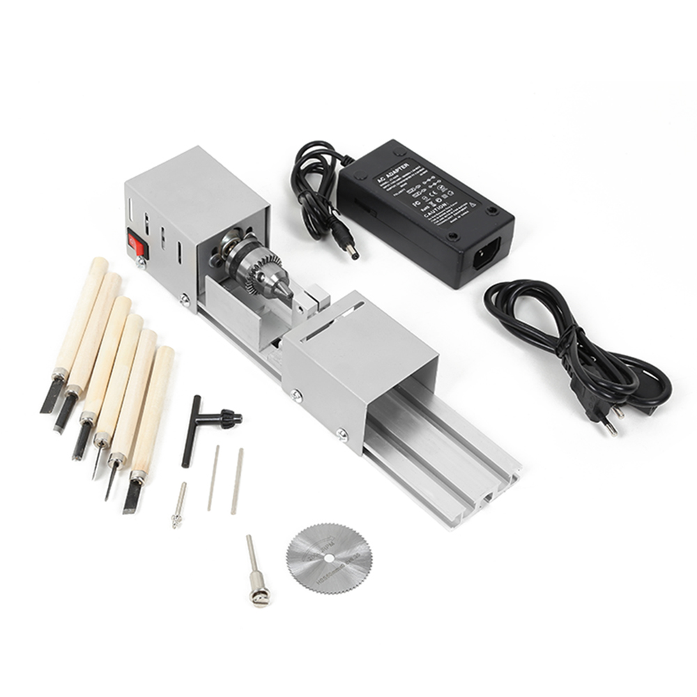 96W Mini Lathe Beads Machine Woodworking DIY Standard Set With Power Carving Cutter Grinding Polishing Beads Drill Rotary Tool