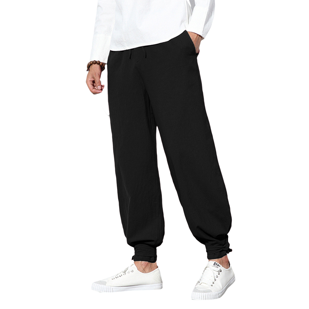 Jogger Pant Solid-Trousers Drawstring Loose Cotton Linen Chinese-Style Baggy Plus-Size