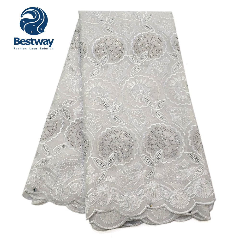 Bestway African Dry Lace Fabric Swiss Voile With Rhinetones Swiss Cotton Lace High Quality 2019 White Color Lace FabricsBestway African Dry Lace Fabric Swiss Voile With Rhinetones Swiss Cotton Lace High Quality 2019 White Color Lace Fabrics