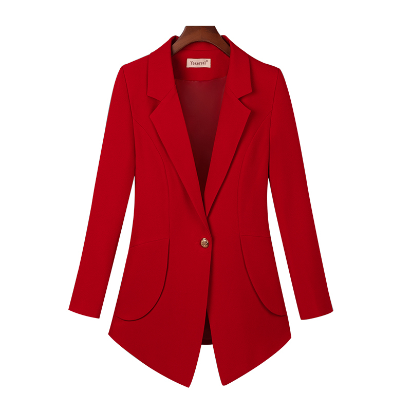 Plus Size Blazer Women Solid Color Long Sleeve Notched Women Tops And Blouses Casual Irregular Slim Suit Blazer Feminino