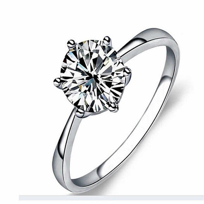 หก Claw คริสตัล Zircon แหวนผู้หญิงเครื่องประดับสีเงินแหวนหมั้นสำหรับงานแต่งงานหญิงแหวนของขวัญคู่