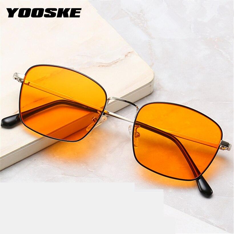 YOOSKE Brand Anti-blue Light Glasses Frame Women Yellow Eyeglasses Men Alloy Spectacle Optical Yellow Lens Glasses Goggles