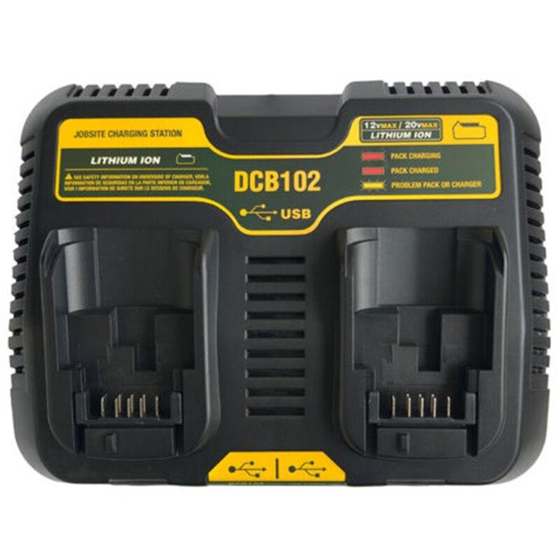 Tool Accessory Dcb102 Double Li Ion Battery Charger Usb Out 5V For Dewalt 10 8V 12V
