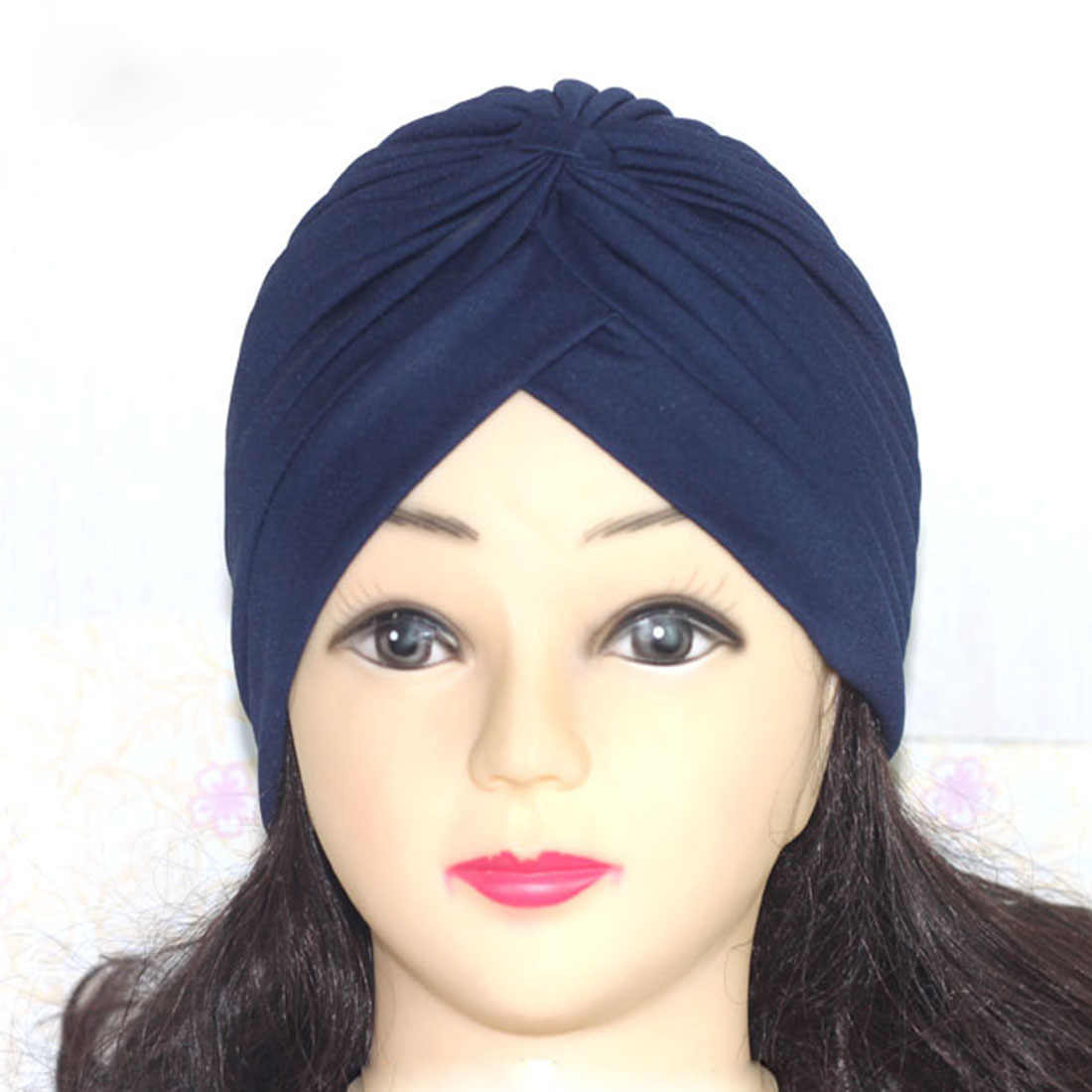316d3d5392a ... Women Men Stretchy Turban Head Wrap Band Chemo Bandana Pleated Indian  Cap Skullies Beanies Prayer New