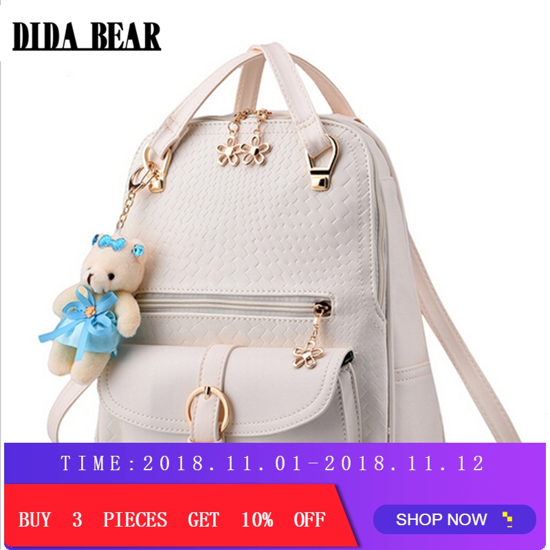 DIDA BEAR Women Backpacks Bolsas Mochila PU Leather Solid Candy Colors Girls School Bags Femme Sac A Dos Black Beige Pink Blue hot sale new women leather backpacks bolsas mochila feminina large girls schoolbag travel bag solid candy color black knapsack