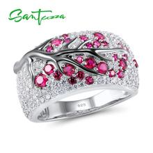 SANTUZZA Silver Ring for Women Genuine 925 Sterling Silver Pink Cherry Tree Cubic Zirconia Ladies Delicate Fashion Jewelry