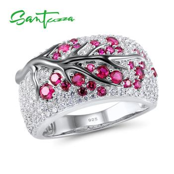 SANTUZZA Silver Ring for Women Genuine 925 Sterling Silver Pink Cherry Tree Cubic Zirconia Ladies Ring Delicate Fashion Jewelry