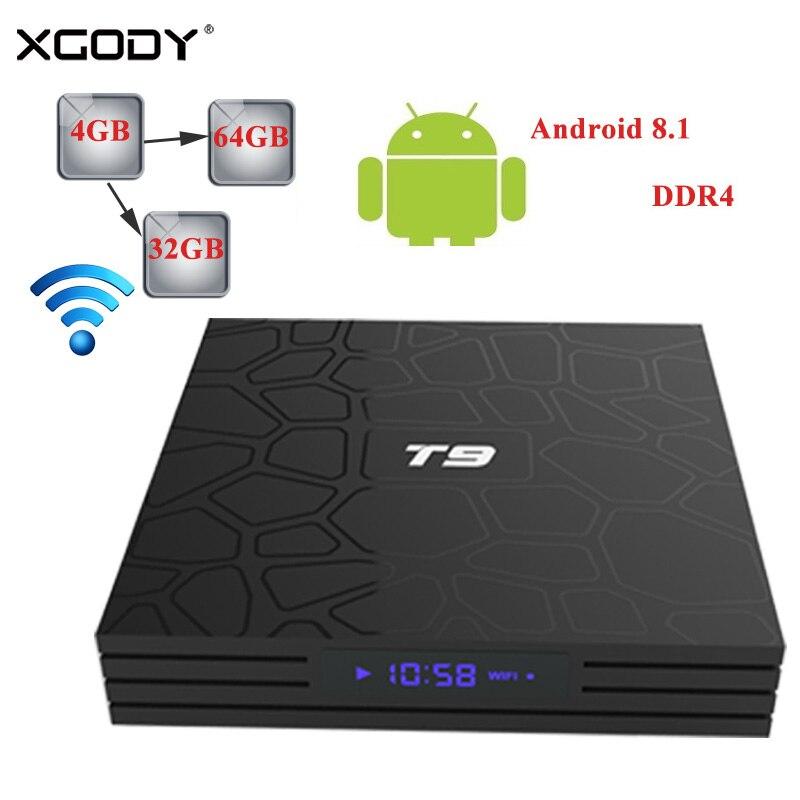 Original XGODY T9 Smart TV Box Android 8.1 Oreo Quad Core 4 GB + 32 GB/64 GB Bluetooth 4.1 double bande WiFi décodeur TV Streamer