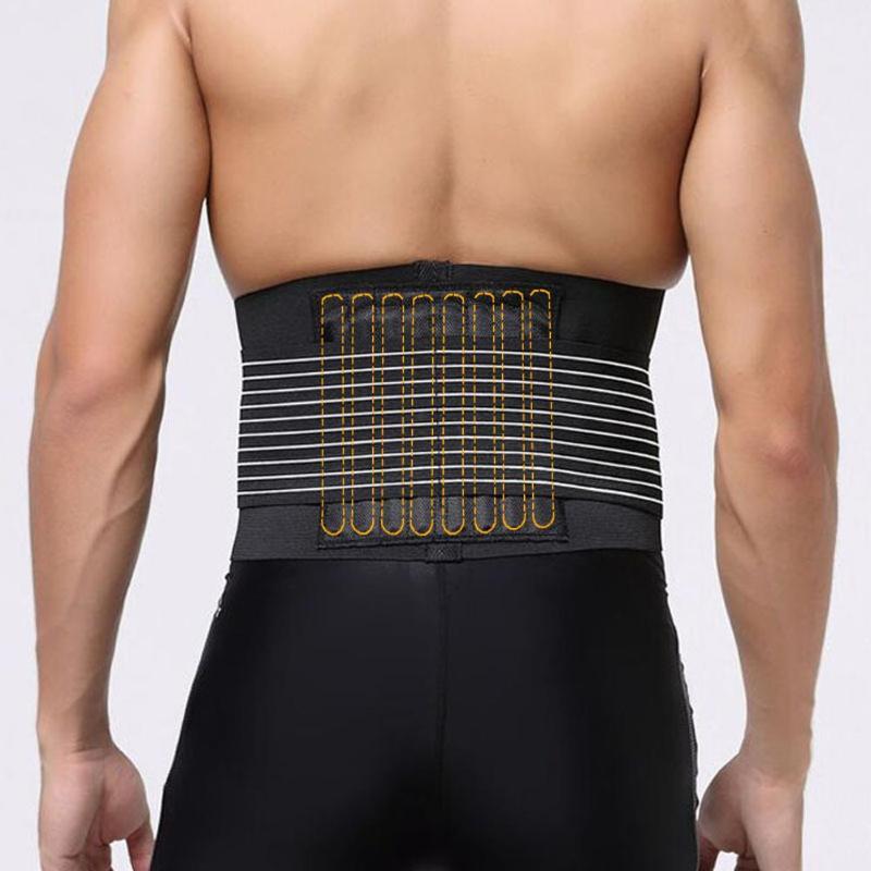 1pc Durable Black Waist Support Brace Belt Lumbar Lower Waist Double Adjustable Back Belt For Pain Relief DropShipping