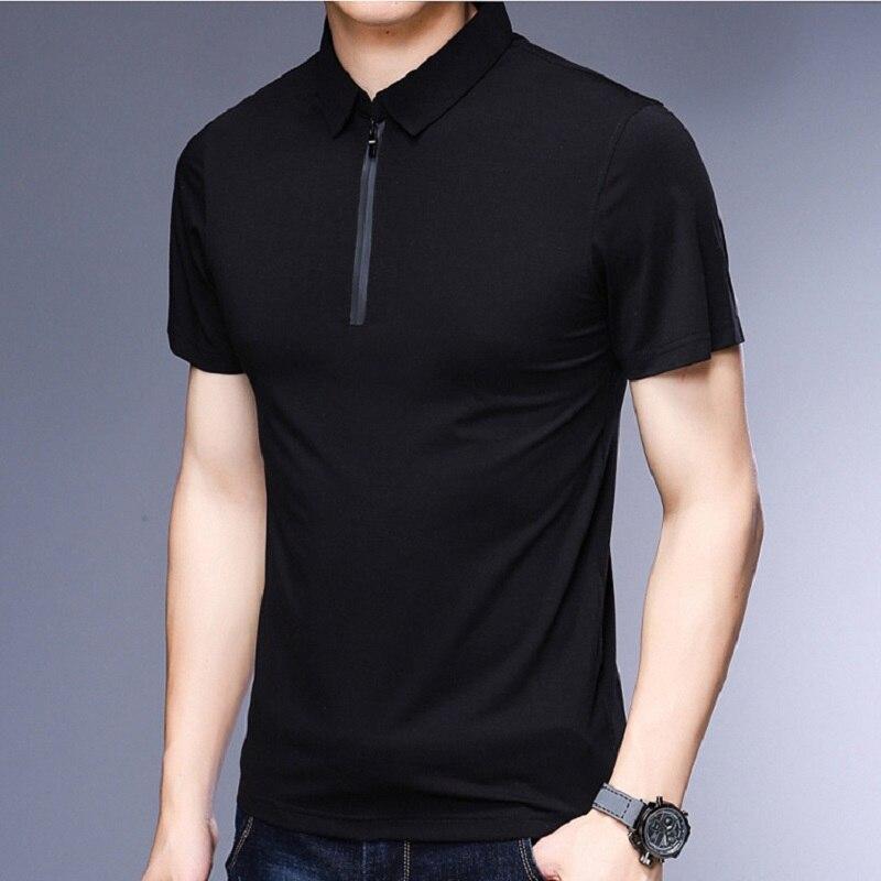 Male Polo Shirt 2019 Summer Slim Plain Color Fashion Brands Design Cotton Polo Zip Up Collar Polo Men's Polo Shirt Short Sleeve