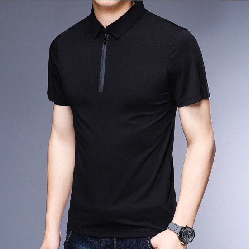 Male   Polo   Shirt 2019 Summer Slim Plain Color Fashion Brands Design Cotton   Polo   Zip Up Collar   Polo   Men's   Polo   Shirt Short Sleeve