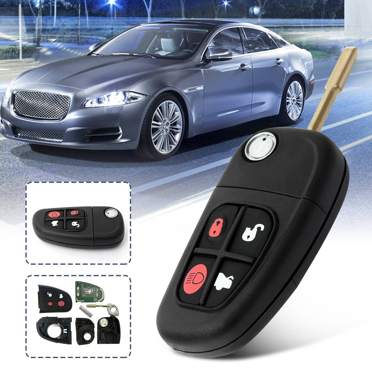4 Buttons 433MHz Remote Flip Car Key Shell Key Case With 4D60 Chip Fob Replacement For JAGUAR XJ8 S TYPE X TYPE