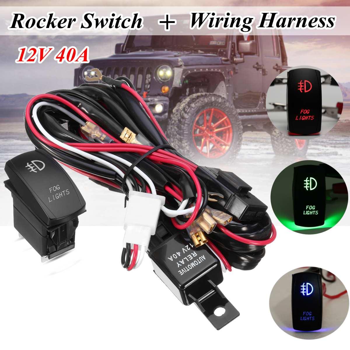 12v Led Fog Light Laser Rocker On  Off Switch Wiring Harness 40a Relay Fuse