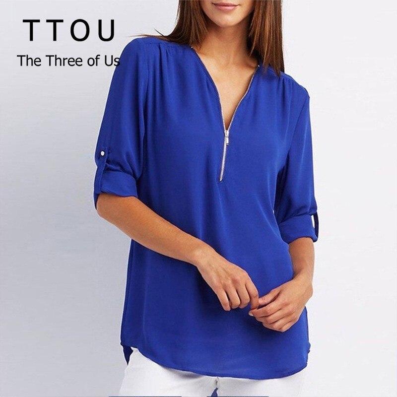 TTOU Women Sexy Zipper V Neck   Blouse     Shirts   Lady Tops   Blouses   Casual Tee   Shirts   Tops Female Clothes Plus Size 5XL feminina