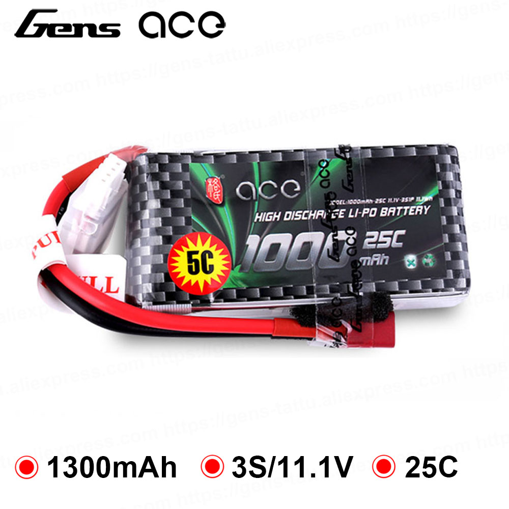 Gens ace <font><b>Lipo</b></font> Battery 11.1V <font><b>1000mAh</b></font> <font><b>Lipo</b></font> <font><b>3S</b></font> Battery Pack 25C T Plug Batteries for Small Airplane Helicopter RC Plane FPV Drone image