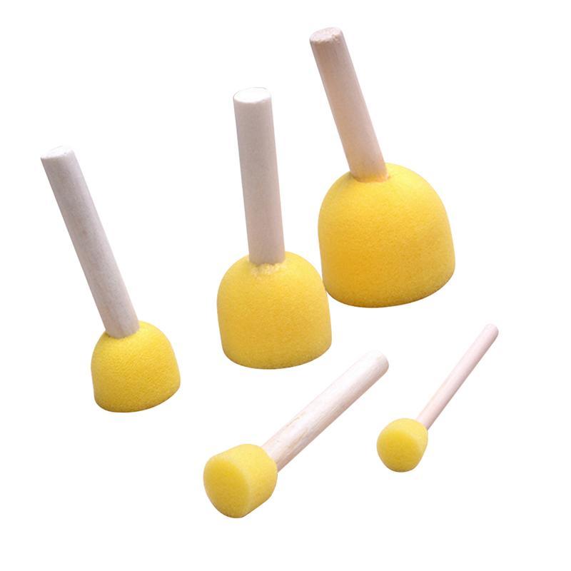 5pcs DIY Round Sponge Painting Brush Crafts Graffiti Painting Tools Sponge Stippler For Kids Children Toddler