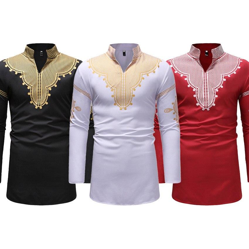 Smokinghemd Laamei 2019 Vintage Männer Ethnische Druck Top Tees Langarm Stehen Kragen Afrikanische Druck Dashiki Hemd Weiß Männer Kleidung