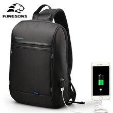 Kingsons 13.3 inch Anti theft USB Charging Messenger Chest Bag Wateproof Single Shoulder Laptop Backpack for Men Women