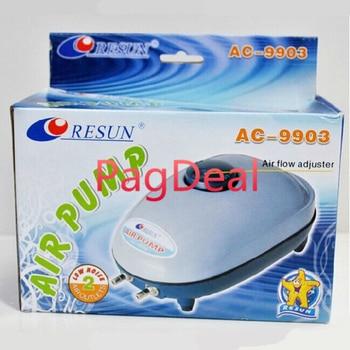 5W Resun AC-9903 4.5Lpm 2 콘센트 조정 가능한 침묵 수족관 공기 펌프 물고기 탱크 홈 가든 산소 워터 펌프 무료 배송
