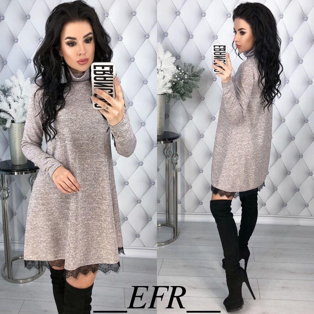 Hot Fashion Spring Winter Women Dress Colors Cotton Turtleneck A-line Lace Hem Elegant Dresses Long Sleeve Casual Mini Warm