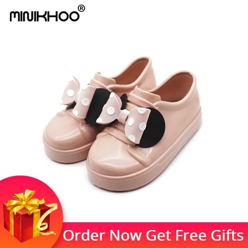 71e0a306a24 Mini Melissa Girls Mickey Bowknot Sandals 2018 New Children Melissa Jelly  Sandals Soft Girl Breathable Sandals