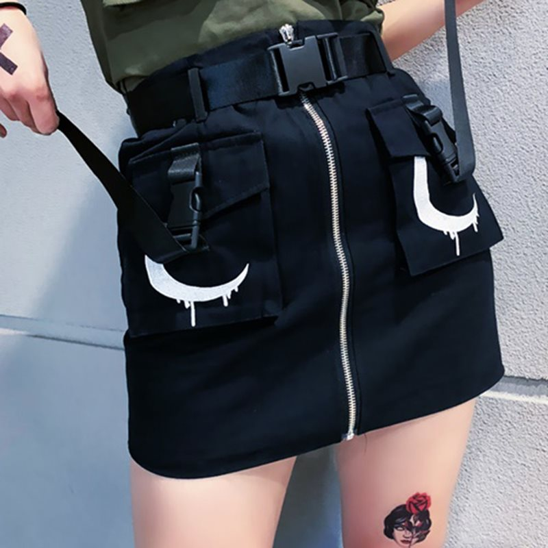 Women Skirt Mini Summer 2019 Harajuku Trendy Gothic Moon Print Zipper Streetwear Black Punk Casual A Line High Waist Skirts Girl Price $52.35