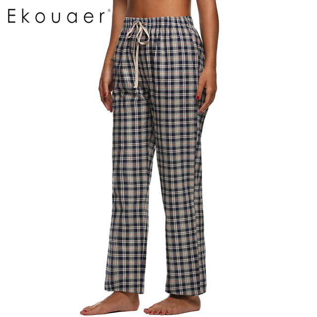 a7097c4955 Ekouaer Cotton Sleep Bottoms Women Pajama Pants Elastic Waist Comfortable  Homewear Pants Loose Lounge clothing Female Plaid Pant