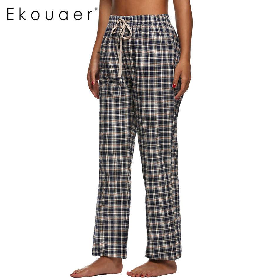 712f498d97 Detail Feedback Questions about Ekouaer Cotton Sleep Bottoms Women Pajama  Pants Elastic Waist Comfortable Homewear Pants Loose Lounge clothing Female  Plaid ...